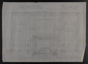 Plan & Elevation of Fire Place End, Main Hall, House at Brookline, Mass. for Mrs. Talbot C. Chase, Jan. 22, 1930