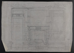 Plan & Elevation of Fire Place End of Library, House at Brookline, Mass. for Mrs. Talbot C. Chase, Jan. 22, 1930