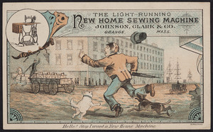 Trade card for The Light-Running New Home Sewing Machine, Johnson, Clark & Co., Orange, Mass., undated