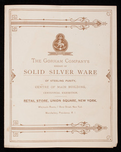 Gorham Company's exhibit of solid silver ware of sterling purity, centre of main building, Centennial Exhibition, Philadelphia, Pennsylvania
