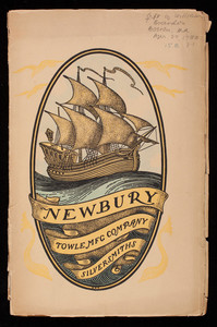 Newbury, a pattern of flatware made in sterling silver by the Towle Mfg. Company with some history of Newbury Massachusetts and its progenitor Newbury England, Towle Mfg Company, silversmiths, Newburyport, Mass.