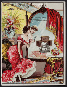 Trade cards for the New Home Sewing Machine Co., Orange, Mass., undated