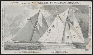 Trade card for the No. 8 Wheeler & Wilson, Wheeler & Wilson Mfg. Co., Boston, Mass., undated