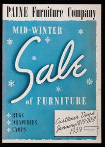 Paine Furniture Company mid-winter sale of furniture, rugs, draperies, lamps, Paine Furniture Company, 81 Arlington Street, Boston, Mass.