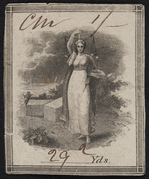 Label for thread, female figure holding scales, location unknown, undated