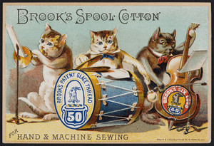 Trade card for Brook's Spool Cotton, location unknown, undated