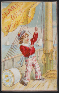 Trade card for Clark's O.N.T. Spool Cotton, Newark, New Jersey and Paisley, Scotland, undated