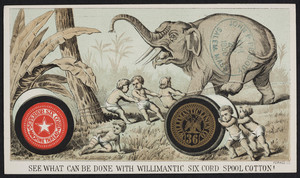 Trade card for Willimantic Six Cord Spool Cotton Machine Thread, Willimantic Linen Co., Willimantic, Connecticut, undated