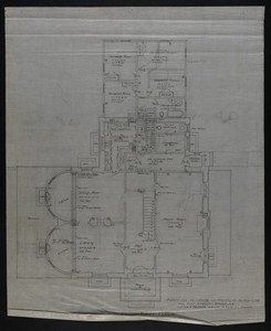 Plan of First Floor, Addition to House of Francis Shaw, Esq., 346 Kent Street, Brookline, undated