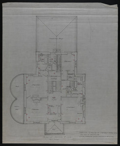 Plan of Second Floor, Addition to House of Francis Shaw, Esq., 346 Kent Street, Brookline, undated