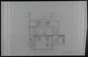 Rear Elevation West, Addition to House of Francis Shaw, Esq., 346 Kent Street, Brookline, undated