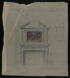 Inch Scale of Library toward Mantel, House of Francis Shaw, undated