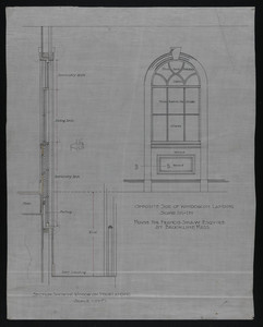 Section Showing Window on Stair Landing and Opposite Side of Window on Landing, House for Francis Shaw, Esquire at Brookline, Mass., undated