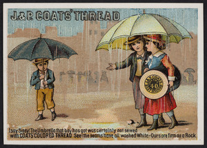 Trade card for J. & P. Coats' Thread 40, location unknown, undated