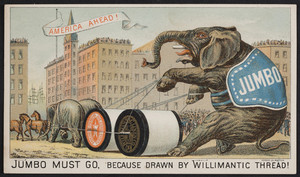 Trade card for Willimantic Thread, Willimantic Linen Co., Willimantic, Connecticut, 1882