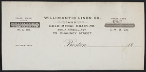Letterhead for the Willimantic Linen Co. and Gold Medal Braid Co., 75 Chauncy Street, Boston, Mass., 1800s