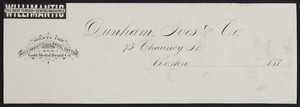 Letterhead for Dunham, Ives & Co., 75 Chauncy Street, Boston, Mass., 1870s
