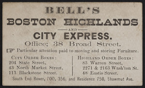 Trade card for Bell's Boston Highlands and City Express, 38 Broad Street, Boston, Mass., undated