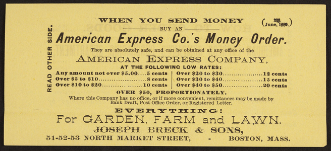 Leaflet for Joseph Breck & Sons, garden, farm, lawn, 51-52-53 North Market Street, Boston, Mass., June 1889