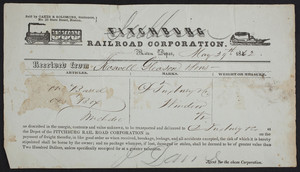 Receipt for the Fitchburg Railroad Corporation, Boston, Mass., dated May 29, 1862