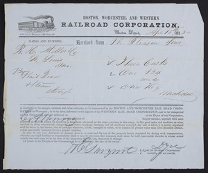 Receipt for the Boston, Worcester and Western Railroad Corporation, Boston, Mass., dated April 15, 1853
