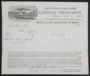 Receipt for the Old Colony & Fall River Railroad Corporation, Boston, Mass., dated April 27, 1863