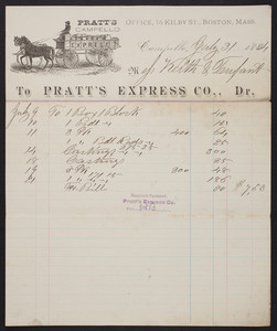 Billhead for Pratt's Express Co., Dr., Campello, Mass., dated July 31, 1884
