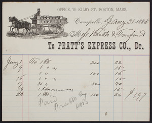 Billhead for Pratt's Express Co., Dr., Campello, Mass., dated January 31, 1885