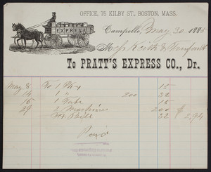 Billhead for Pratt's Express Co., Dr., Campello, Mass., dated May 30, 1885