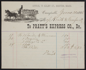 Billhead for Pratt's Express Co., Dr., Campello, Mass., dated June 30, 1885