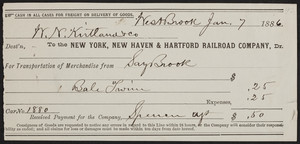 Receipt for the New York, New Haven & Hartford Railroad Company, Dr., Westbrook, Mass., dated January 7, 1886