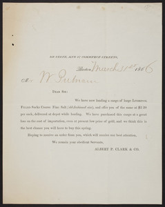 Letterhead for Albert P. Clark & Co., 218 State and 27 Commerce Streets, Boston, Mass., dated March 31, 1866