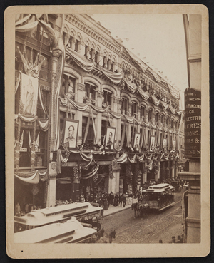 R.H. White department store decorated for Grand Army of the Republic, Washington St., Boston, Mass., 1890