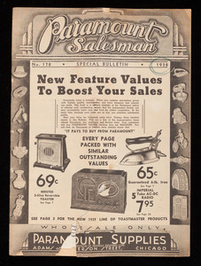 Paramount salesman, special bulletin, no. 178, Paramount Supplies, Adams at Jefferson Street, Chicago, Illinois