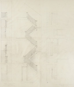 "Back stair plan and elevation, residence of Mrs. Charles C. Pomeroy [Edith Burnet (Mrs. Charles Coolidge Pomeroy)], ""Seabeach"", Newport, R. I., 1900."