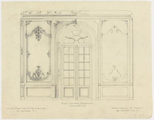"Anteroom elevation, east and west, 3/4 inch scale, residence of E. H. G. Slater, ""Hopedene"", Newport, R.I., (1898) 1902-3."