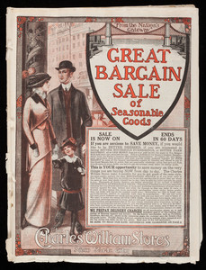 Great bargain sale of seasonable goods, The Charles William Stores, New York, New York