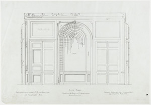 "Anteroom elevation, north and south, 3/4 inch scale, residence of E. H. G. Slater, ""Hopedene"", Newport, R.I., (1898) 1902-3."
