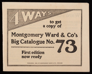 Montogmery Ward & Company promotional materials, Montgomery Ward & Co., Michigan Avenue, Madison and Washington Streets, Chicago, Illinois