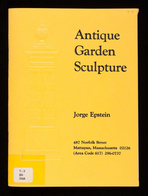 Antique garden sculpture, Jorge Epstein, Mattapan, Mass.