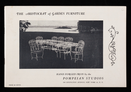 Aristocrat of garden furniture, hand forged iron by the Pompeian Studios, 160 Lexington Avenue, New York