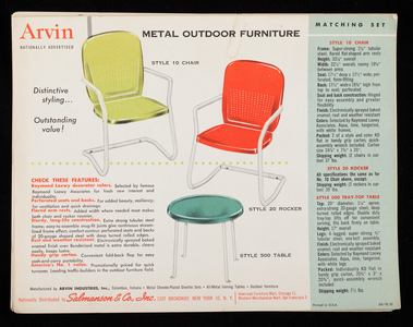 Arvin Metal Outdoor Furniture, Arvin Industries, Inc., Columbus, Indiana