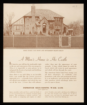 Man's home is his castle, American Chain Link Fence Company, 24-26 Ship Avenue, Medford, Mass.
