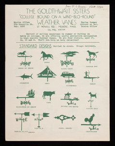 Weather vanes, Goldthwait Sisters, 57 Nowell Road, Melrose, Mass., undated