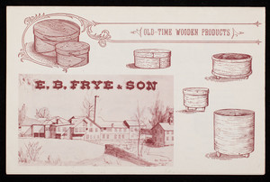 Suggested retail price sheet, old time wooden boxes, manufactured & sold by E.B. Frye & Son, Wilton, New Hampshire