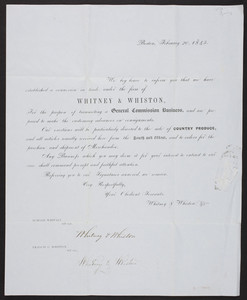 Whitney & Whiston, general commission business, country produce, Boston, Mass., February 20, 1845