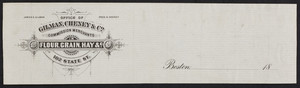 Letterhead for Gilman, Cheney & Co., commission merchants in flour, grain, hay, 102 State Street, Boston, Mass., 1800s