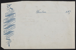 Letterhead for J.W. Lynch, commissioner in small wares and manufacturers agent, No. 80 Chauncy Street, Boston, Mass., 1870s