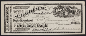 Check for J.B. Grimm, commission merchant, Woonsocket, Rhode Island, 1800s