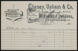 Billhead for Cheney, Upham & Co., jobbers and commission merchants, 10 New Faneuil Hall Market, Boston, Mass., dated March 10, 1902